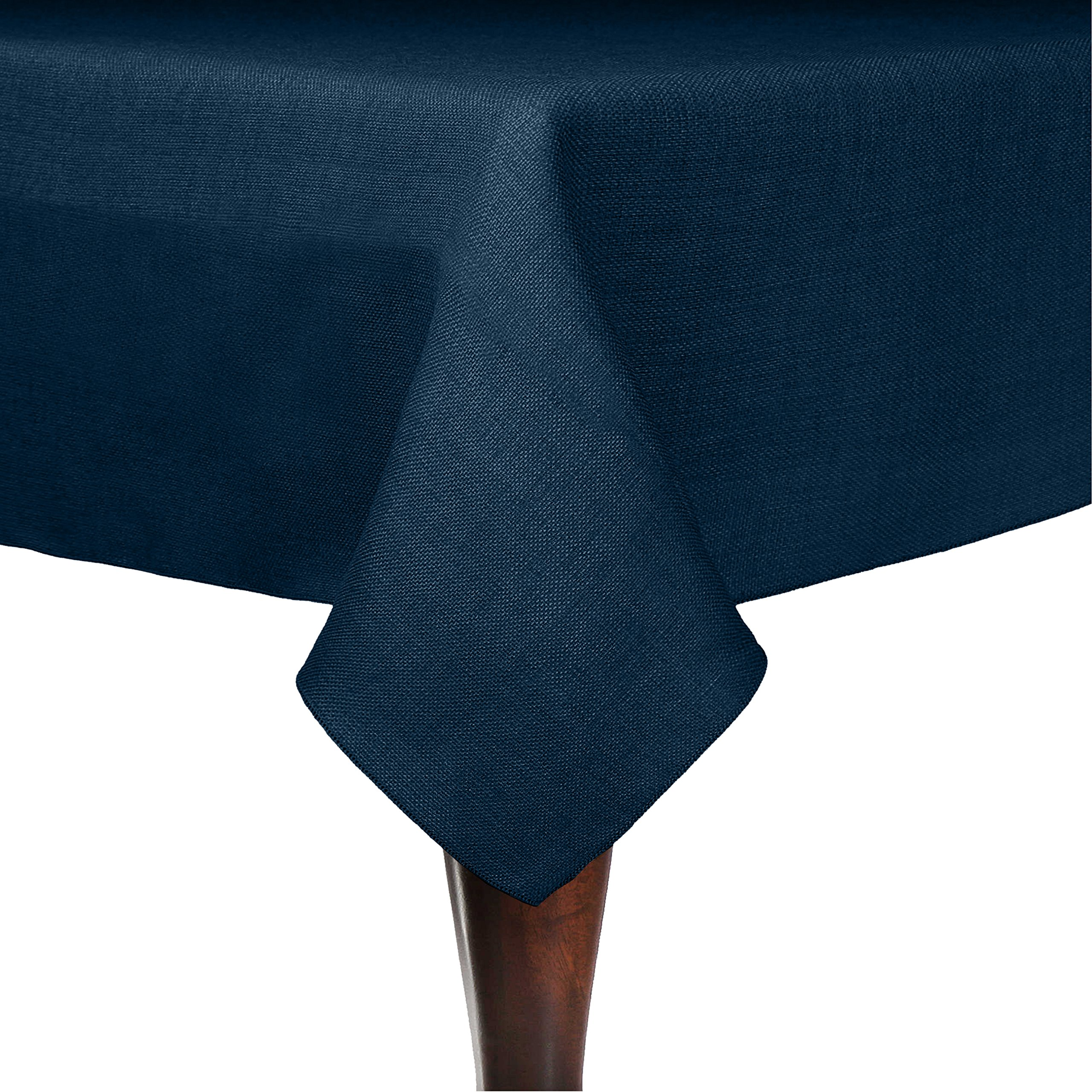 Ultimate Textile (25 Pack) Faux Burlap - Havana 60 x 120-Inch Rectangular Tablecloth - Basket Weave, Navy Blue
