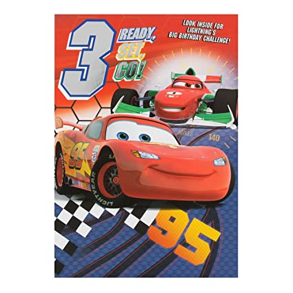 Amazon Disney Cars 3rd Birthday Card Lighting McQueen Office Products