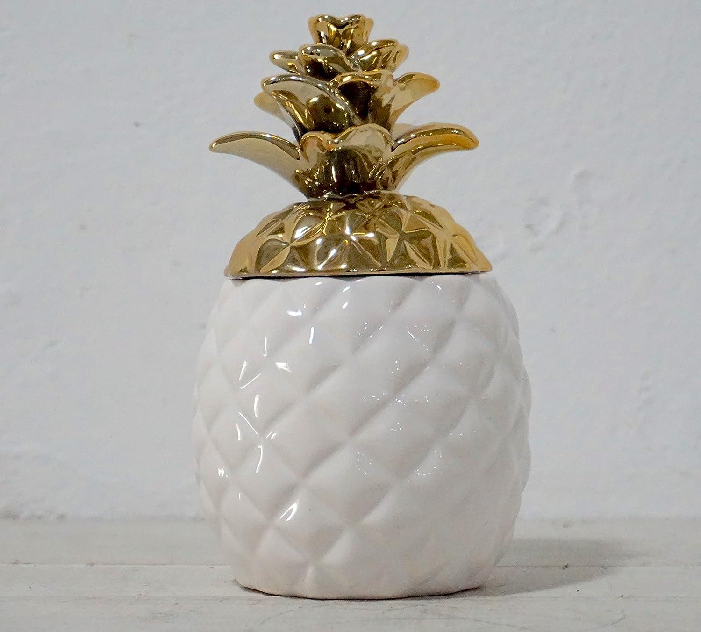 color/é Ananas Forme en c/éramique avec couvercle/ /Biscuits fabriqu/é /à la main Pot de conservation bo/îte de conservation cuisine Essentials Red avec Aqua Gloss m/étallique Dor/é Couronne