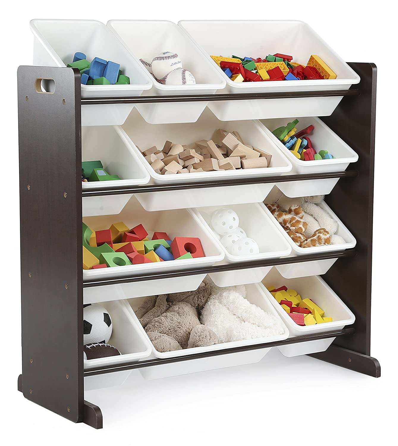 Amazon.com: Tot Tutors Kidsu0027 Toy Storage Organizer With 12 Plastic Bins,  Espresso/White (Espresso Collection): Home U0026 Kitchen