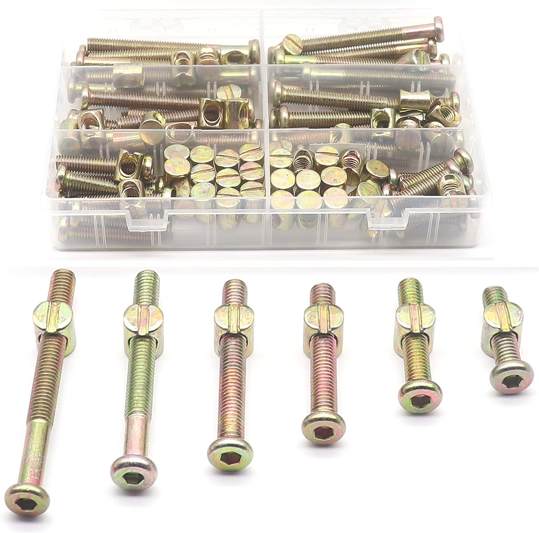 30-Set M8 Crib Screws, binifiMux 60pcs Hex Key Drive Socket Cap Crib Bolts Barrel Nuts, M8 x 30mm/ 40mm/ 50mm/ 60mm/ 70mm/ 80mm Furniture Bolt and Barrel Nuts Assortment Kit