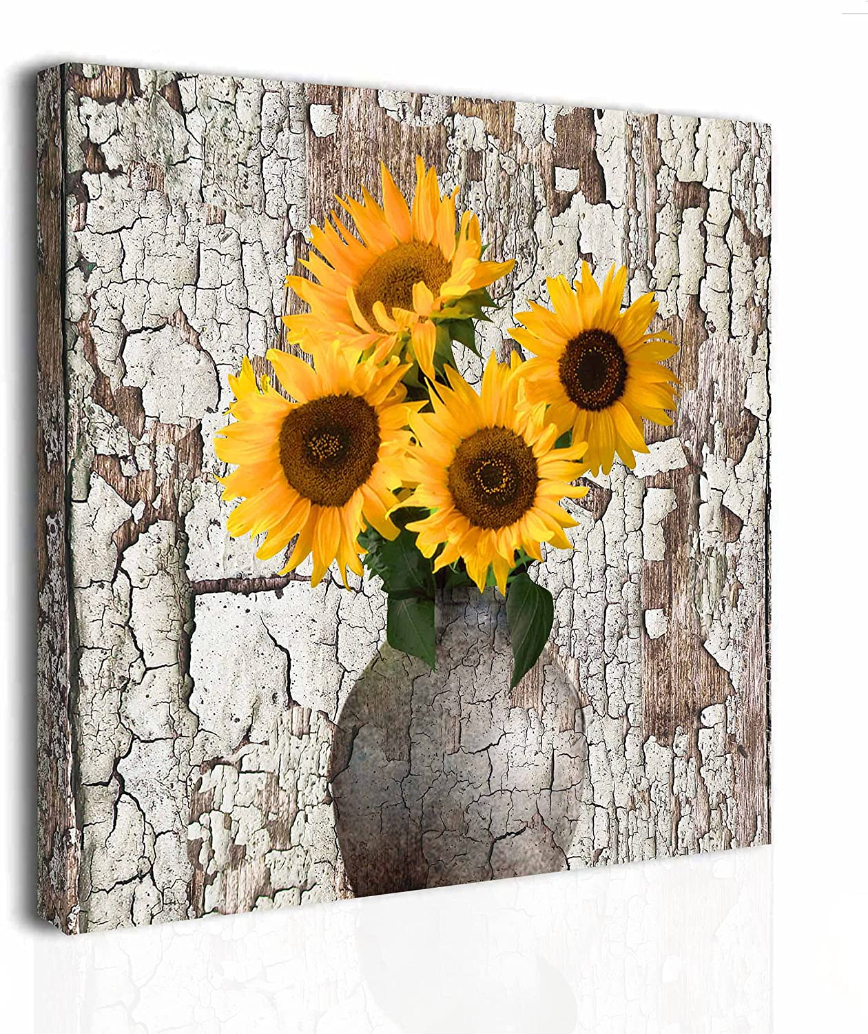 Sunflower Canvas Wall Art Decor Rustic Country Farmhouse Countryside Wood Decorations for Living Room Dining room Floral Yellow Brown Vintage Artwork 13.4*13.4 inch