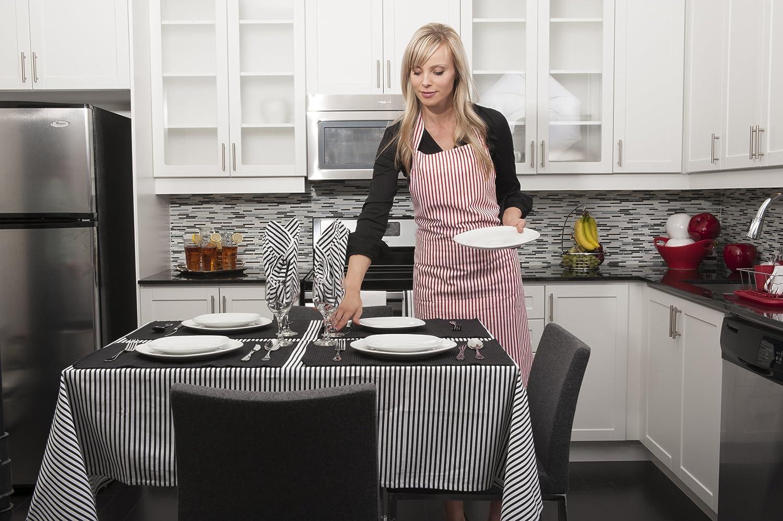 Flato Cotton Stripe Napkins, 20x20 inch,Set of 4 (Black)