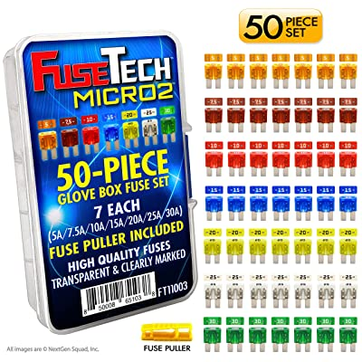 FuseTech Micro2 50 Piece Automotive Fuse Assortment Glove Box Set (49 Blade Fuses + Fuse Puller) 5A 7.5A 10A 15A 20A 25A 30A: Industrial & Scientific [5Bkhe0400437]