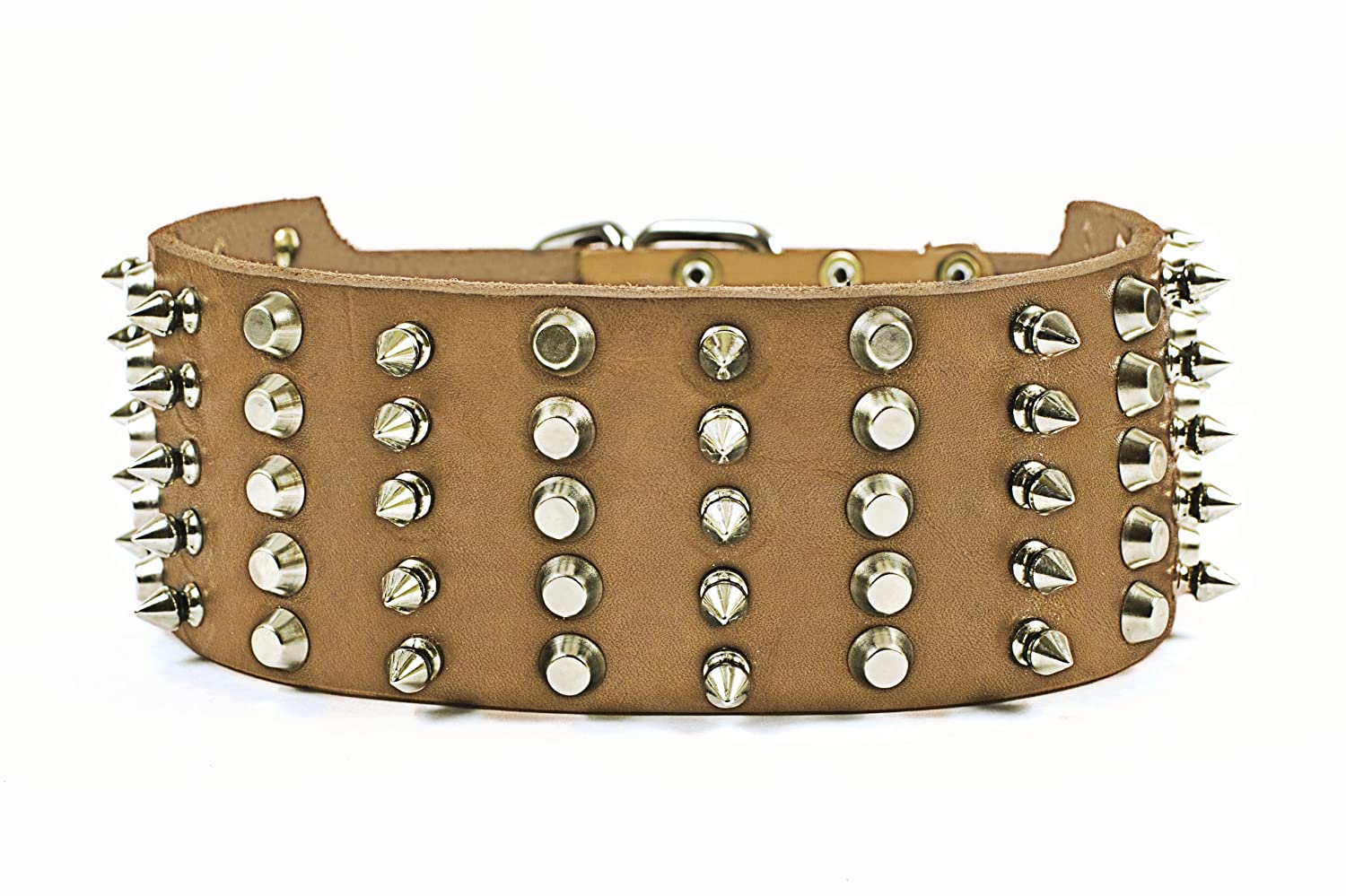 Dean and Tyler WIDE HEAVEN , Extra Wide Dog Collar with Nickel Spikes and Studs Tan Size 20-Inch by 2-3 4-Inch Fits Neck 18-Inch to 22-Inch