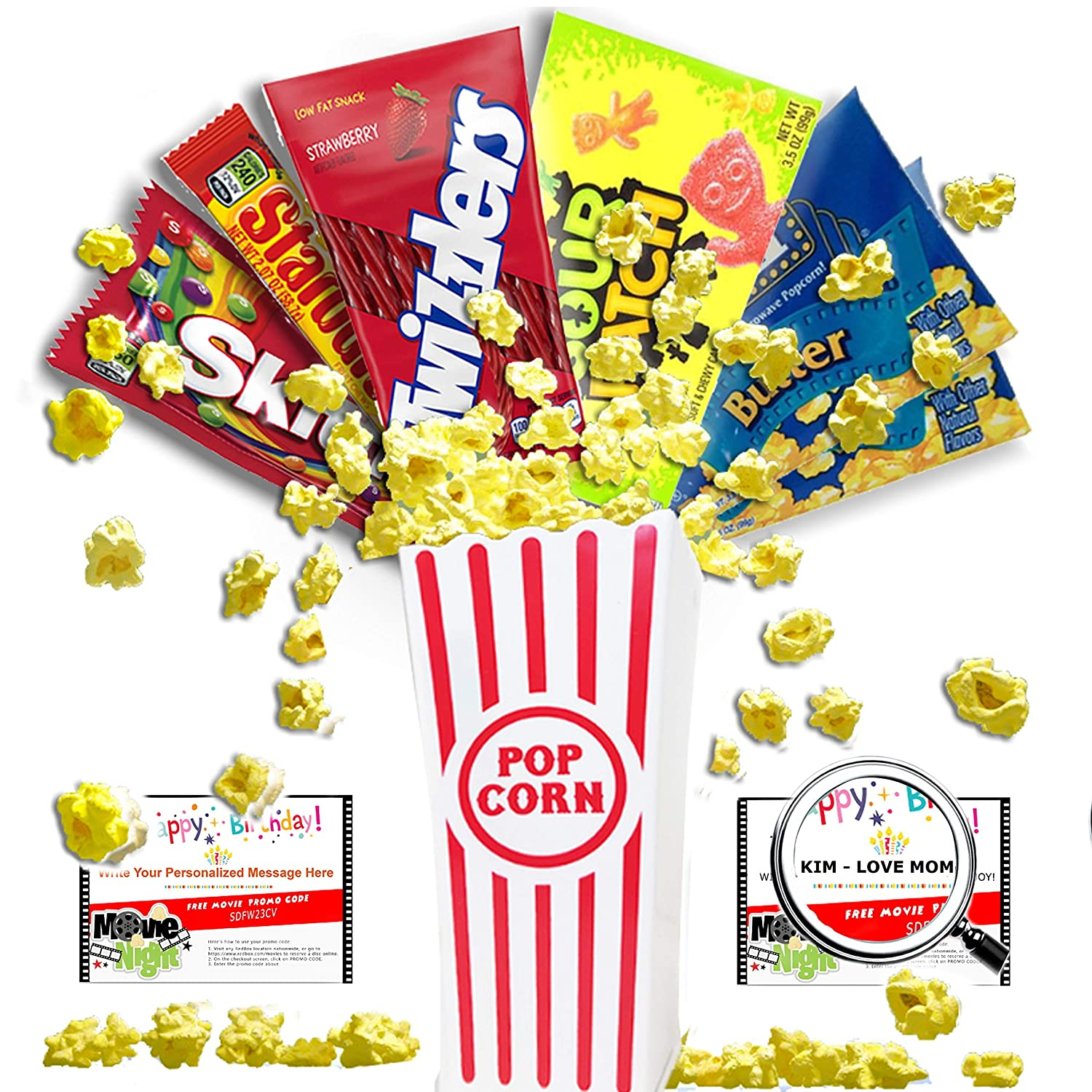Amazon Happy Birthday Customized Movie Night Gift Basket Includes Butter Popcorn Concession Stand Candy And A Card For 2 Free RedBox