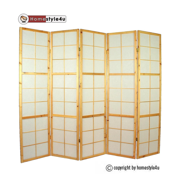 5 pan diviseur de pièce écran pliant - bois diviseur Shoji en papier de riz blanc naturel