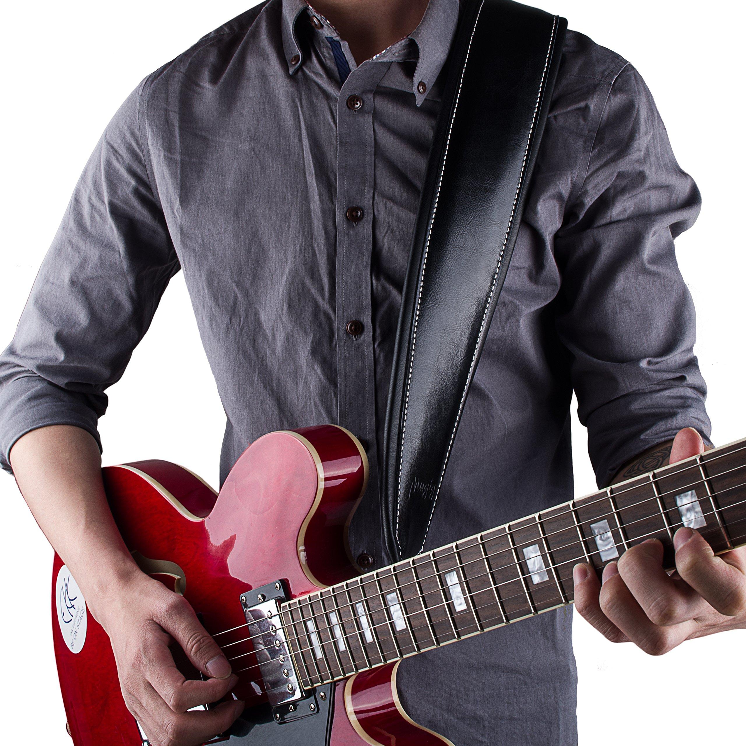 Mugig Correa Guitarra ajustable con 100 por cien de pien hecho de cuero real,se adapta perfecto al cuerpo y para todos instrumentos.