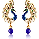 Zaveri Pearls Drop Earrings for Women (Blue)(ZPFK2709)