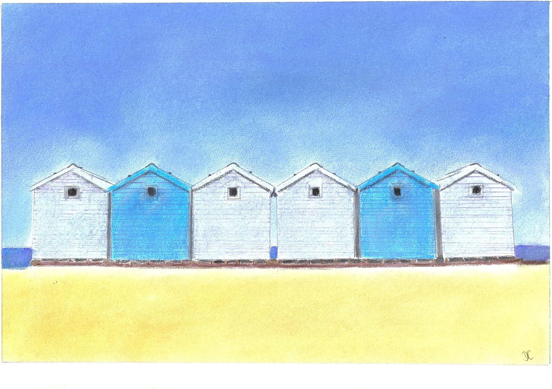 Azul diseño de casetas de playa arena tizas para tacos de billar ...