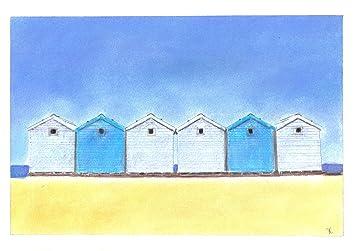 Azul diseño de casetas de playa arena tizas para tacos de billar de dibujos de Pastel + soporte: Amazon.es: Hogar