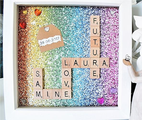 Scrabble Tile Family Tree Art Frame. Scrabble Word Tile Crossword ...