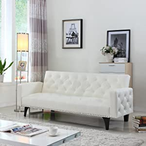 Modern Tufted Bonded Leather Sleeper Futon Sofa with Nailhead