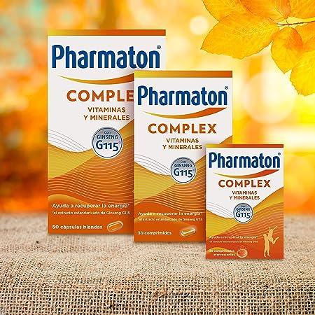 Pharmaton Complex, multivitamínico con Ginseng G115, Ayuda a recuperar la energía, 60 cápsulas blandas: Amazon.es: Salud y cuidado personal