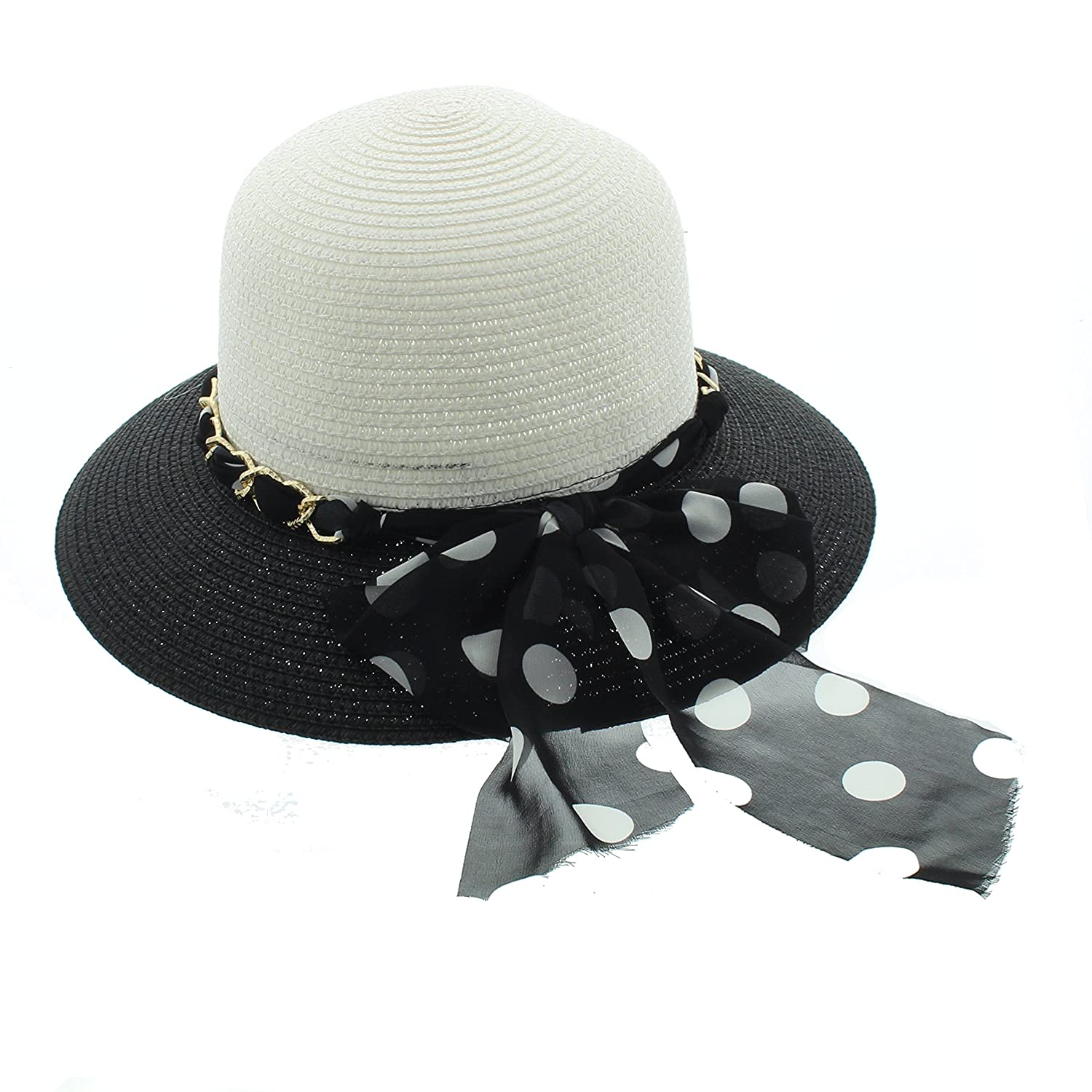 Milani Womens Two Toned Short Brim Sun Hat With Bow
