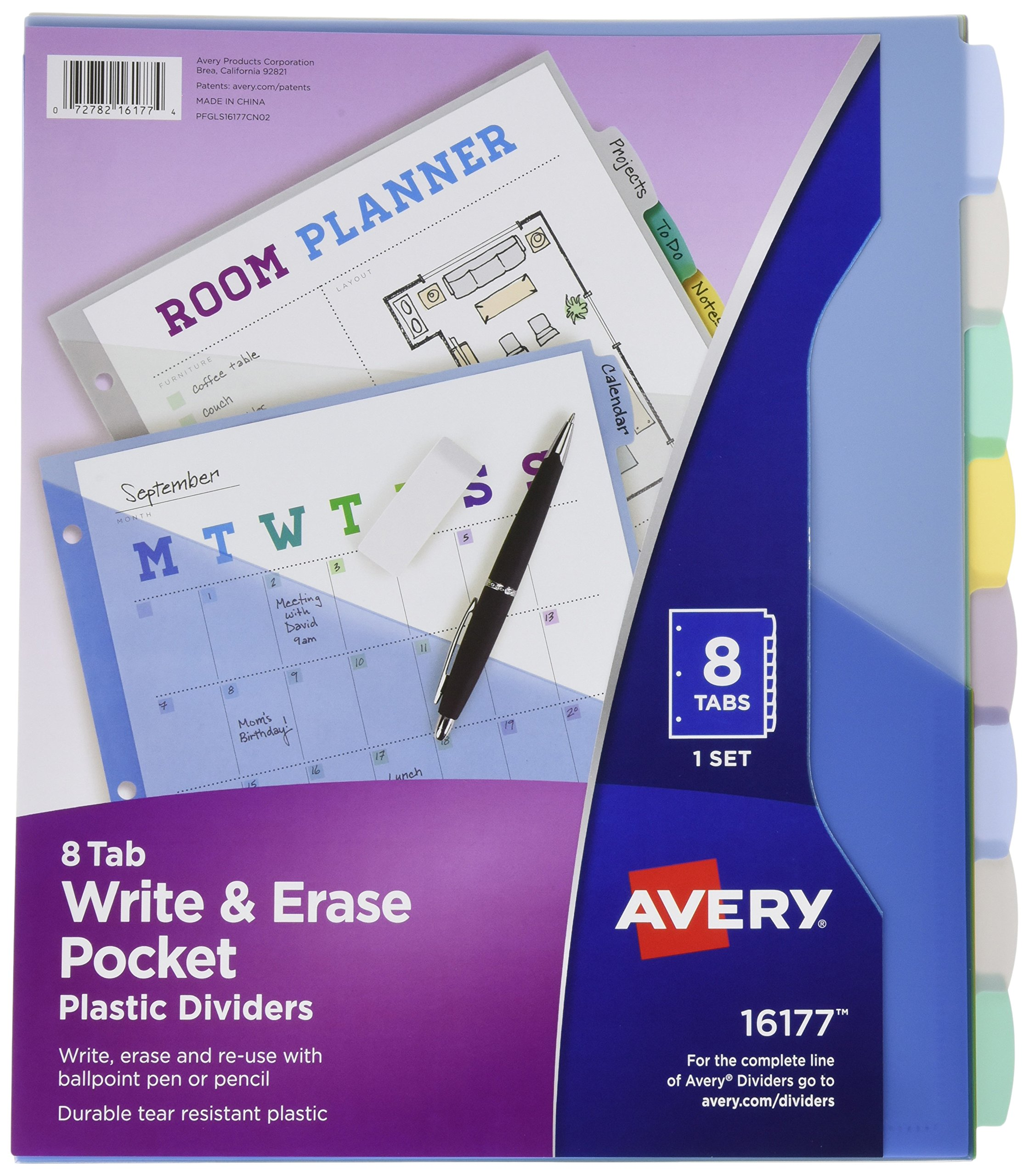 Avery Write & Erase Durable Plastic Dividers with Pockets , 8 Multicolor Tabs, Case Pack of 24 (16177)