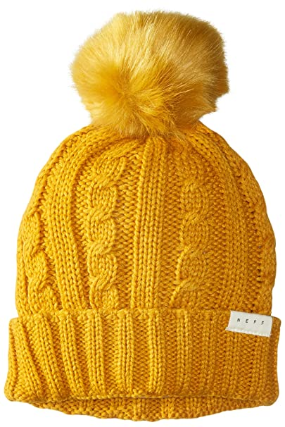 98bcaf78be4b2 NEFF Women s Mae Cable Beanie with Faux Fur Pom