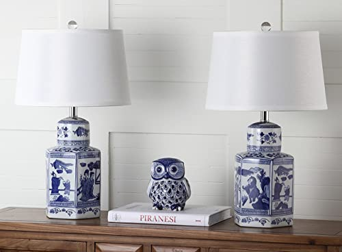 Safavieh Lighting Judy 24-inch White and Blue Chinoiserie Set of 2 -Bulbs Included Table Lamp, 23.5