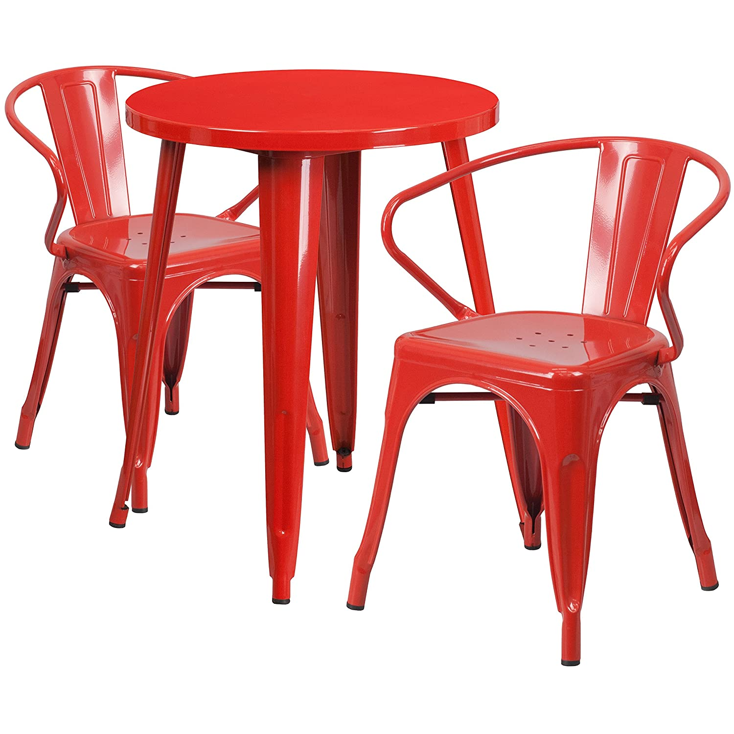 Flash Furniture 24 Round Red Metal Indoor-Outdoor Table Set with 2 Arm Chairs