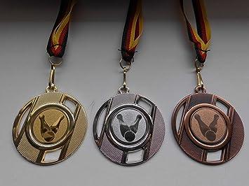 e237 Kegeln Pokal Medaillen 3er Set 50mm mit Medaillen-Band Turnier Emblem Pokale & Preise