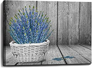 Canvas Wall Art for Bathroom Purple Lavender Flower in a Basket Painting Pictures Print on Canvas Prints Size 12x16 Wall Decor for Bedroom Framed Decoration Modern Home Decor Artwork Ready to Hang