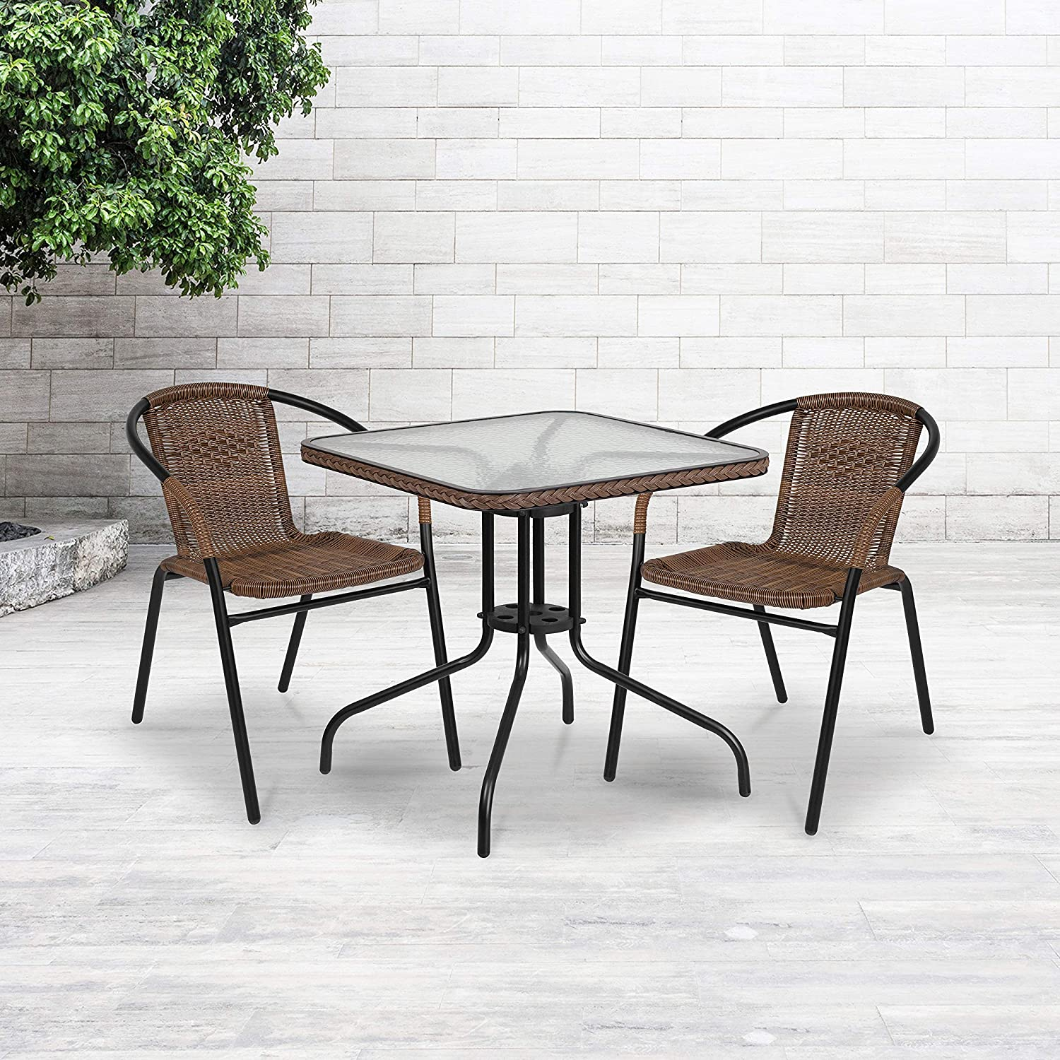 Flash Furniture 28'' Square Tempered Glass Metal Table with Dark Brown Rattan Edging: Kitchen & Dining