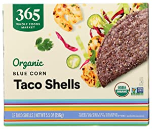 365 by Whole Foods Market, Organic Taco Shells, Blue Corn (12 Taco Shells), 5.5 Ounce