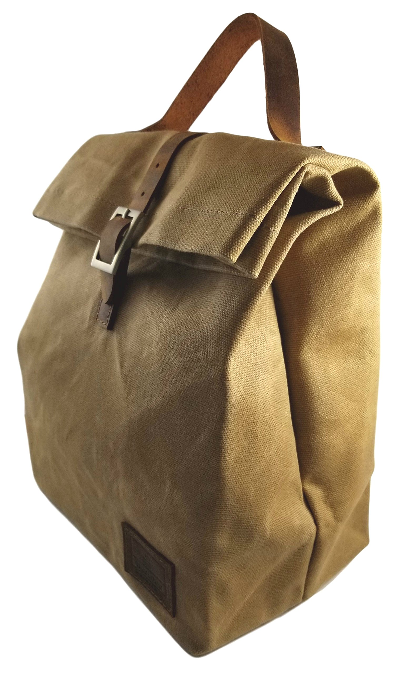 Reusable Thermal Insulated Lunch Bag with handle - Waxed Canvas - Waterproof (Brown)