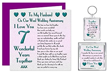 my husband 7th wedding anniversary gift set card keyring fridge