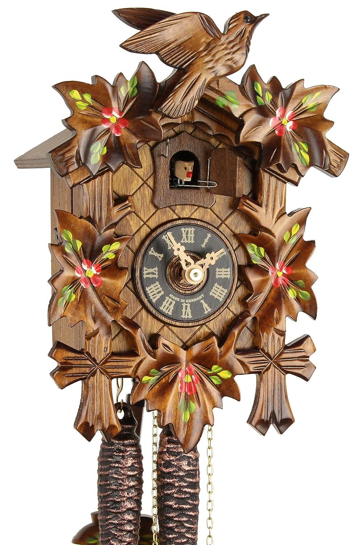 Original foreste musicale Nero orologio in legno, meccanico 1-giorno unità ottica e certificato VDS - offerta di orologi-Park Eble - Eble - cinque foglie dipinto 23 cm - 20-01-14-10