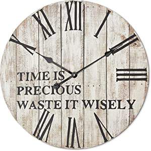 Dogwood Farms Large Rustic Clock - Distressed White - Farmhouse Wall Decor - Oversized Wooden Decorative Clock - Silent Ticking - Roman Numerals - Vintage - Charming Phrase -One AA Battery - 24 Inch