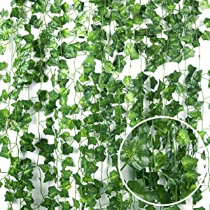 RECUTMS 84 FT Artificial Ivy Fake Greenery Leaf Garland Plants Vine Foliage Flowers Hanging for Wedding Party Garden Home Kitchen Office Wall Decoration(12 Pack)