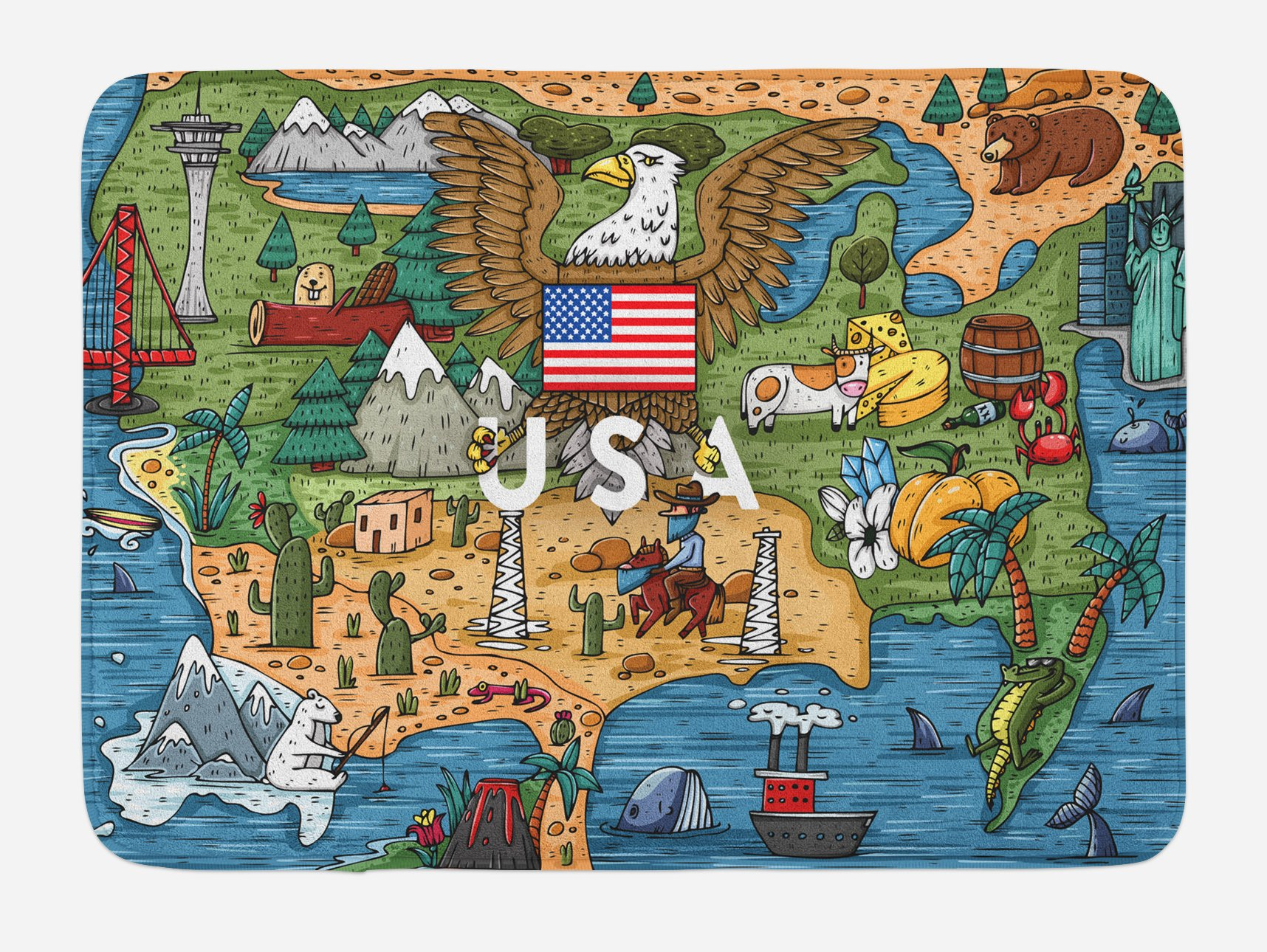 Lunarable United States Bath Mat, Cartoon Style Map of North America with Popular Attractions and a Bald Eagle, Plush Bathroom Decor Mat with Non Slip Backing, 29.5 W X 17.5 W Inches, Multicolor