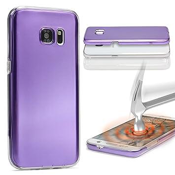 Urcover® Funda Compatible con Samsung S6 Edge Plus Carcasa Protectora 360 Grados Metálico Silicona Gel en Semi-Transparente Full Body Protección ...