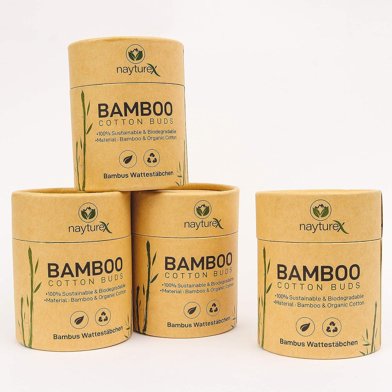 Juego de 4 almohadillas de lana de algod/ón de bamb/ú Nayturex 800 piezas Embalaje sostenible y sin pl/ástico   100/% madera org/ánica biodegradable