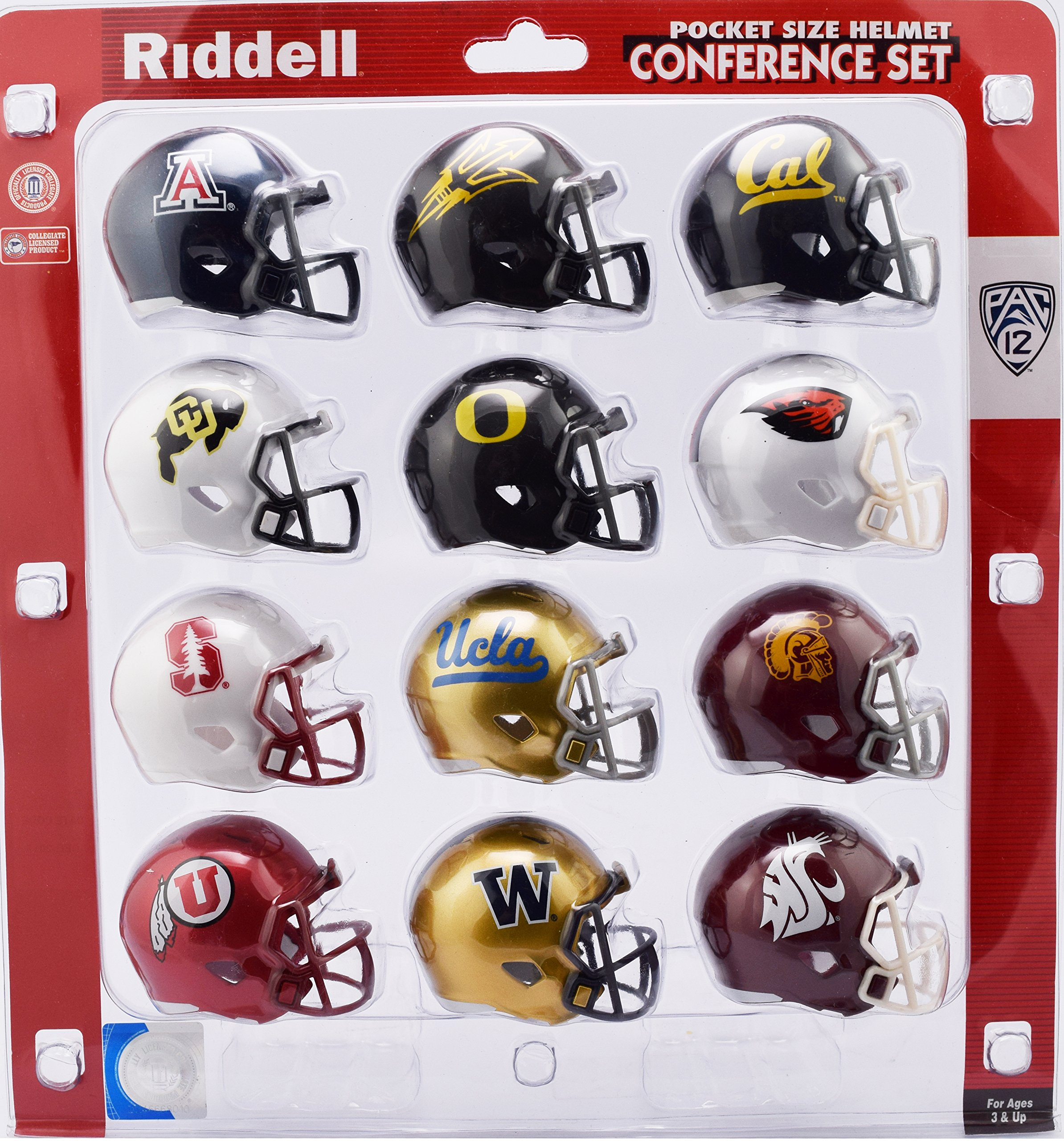 Riddell Pocket Pro Speed Helmet PAC 12 Conference Set 12 Helmets Arizona, Arizona St, Cal, Colorado, Oregon, Oregon St, Stanford,UCLA,USC,Utah,Washington,Washington State Helmets 2018 Set