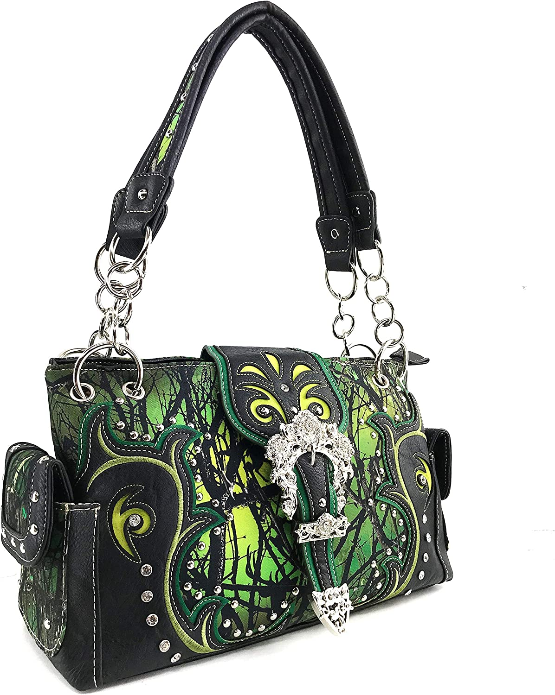 Zelris Camouflage Shine Glow Floral Rose Buckle Women Conceal Carry Handbag