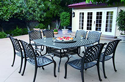 Darlee Nassau Cast Aluminum 10 Piece Dining Set With Seat Cushions 64 Inch Square Dining Table And 30 Inch Lazy Susan Antique Bronze Finish