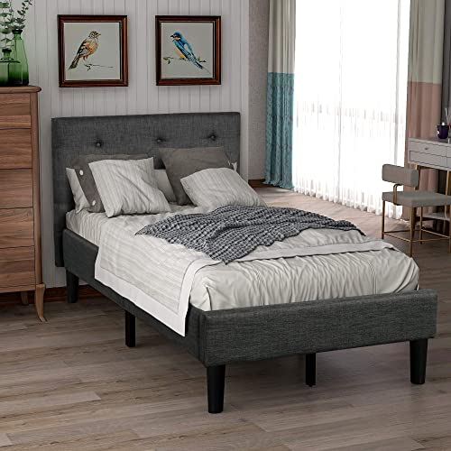 Knocbel Upholstered Platform Bed Diamond Stitched Tufted Headboard Strong Wooden Slats Support Grey Twin