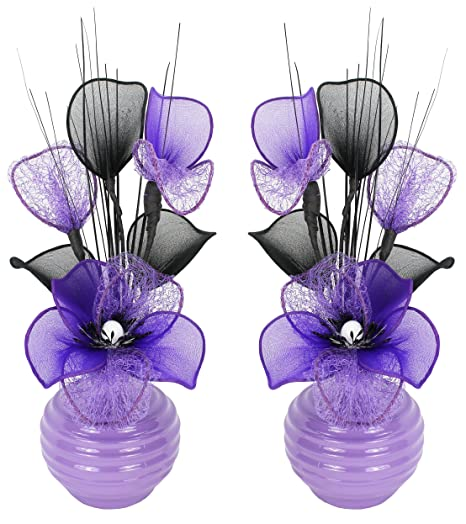 Matching Pair Of Light Purple Vases With Purple Artificial Flowers