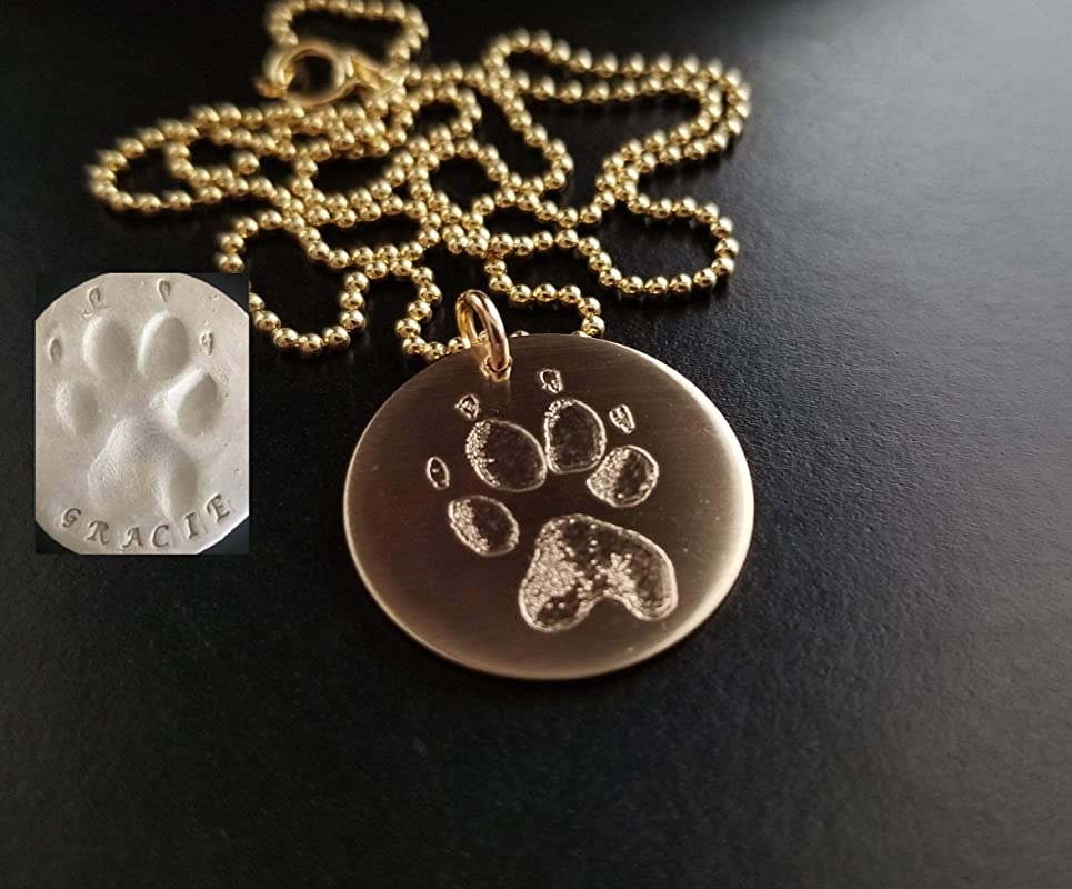 Paw Print Bracelet Nose Print Bracelet Personalized FEEL IMPRESSION Engraved into 925 Sterling Silver or 14k 1420 GF Rose Gold Filled