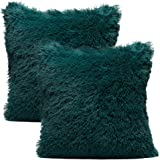 Chanasya Super Soft Long Shaggy Chic Fuzzy Fur Faux Fur Warm Elegent Cozy Teal Throw Pillow Cover Pillow Sham - Solid Teal Fur Throw Pillowcase 18x18 Inches 2-Pack(Pillow Insert Not Included)