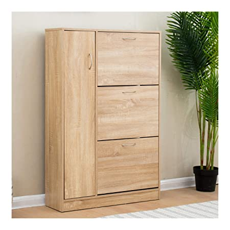Cherry Tree Furniture 3 Level Wooden Shoe Cabinet Cupboard Shoe Storage  Unit Footware Organiser With