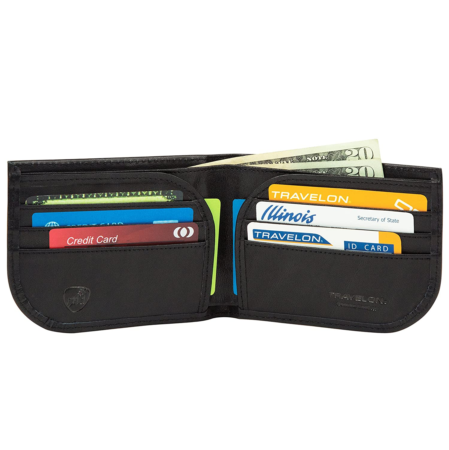 Black Travelon Safe ID Leather Front Pocket Wallet One Size 72487 500 443012-8307194