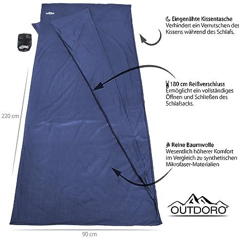 Saco de dormir Outdoro compacto y ultraligero, solo 350 g, fabricado en algodón puro con compartimento para almohada. Saco de dormir para viajes fino, ...
