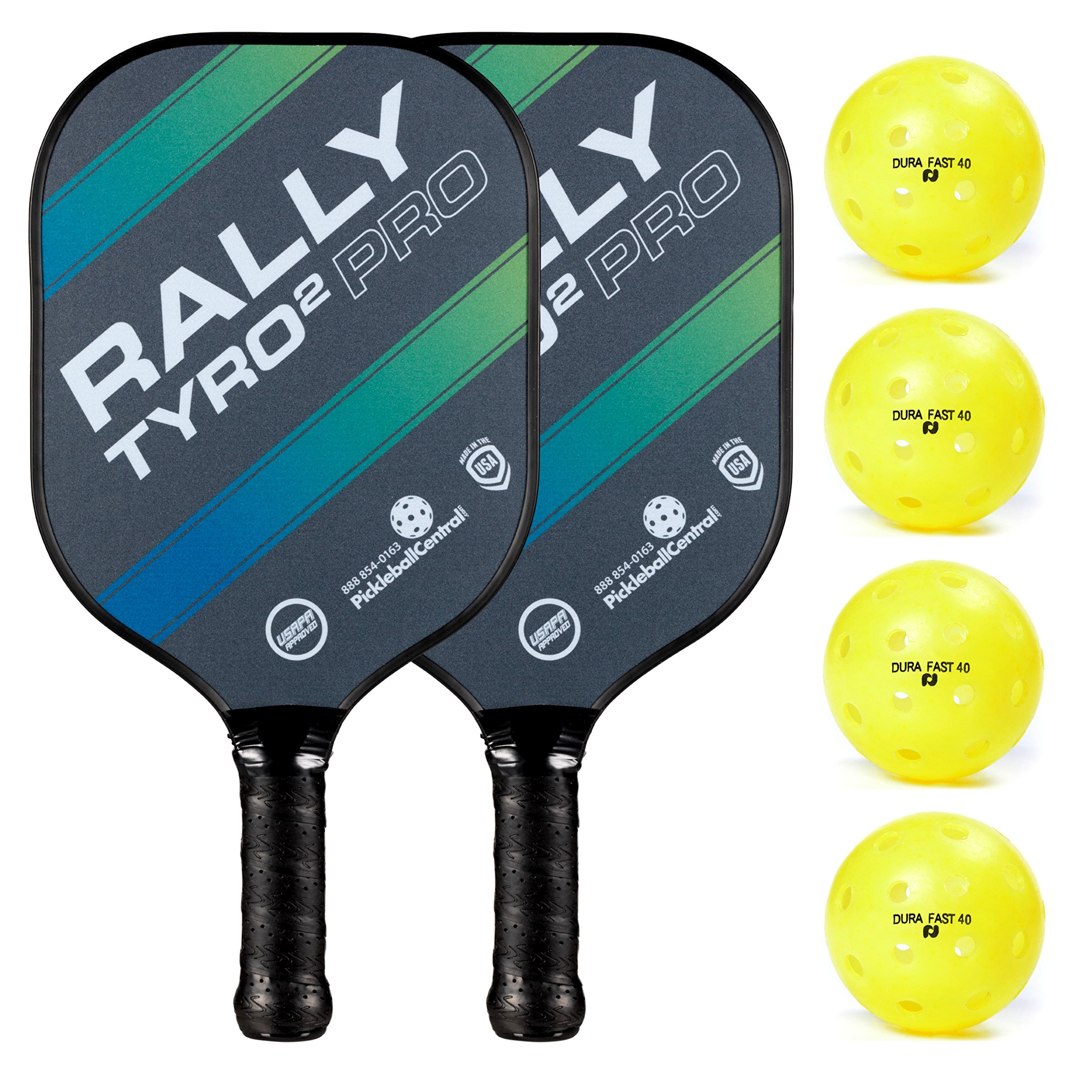 Rally Tyro 2 Pro Pickleball Paddle (2 Paddles / 4 Ball Bundle - Ocean Blue) by PickleballCentral (Image #1)