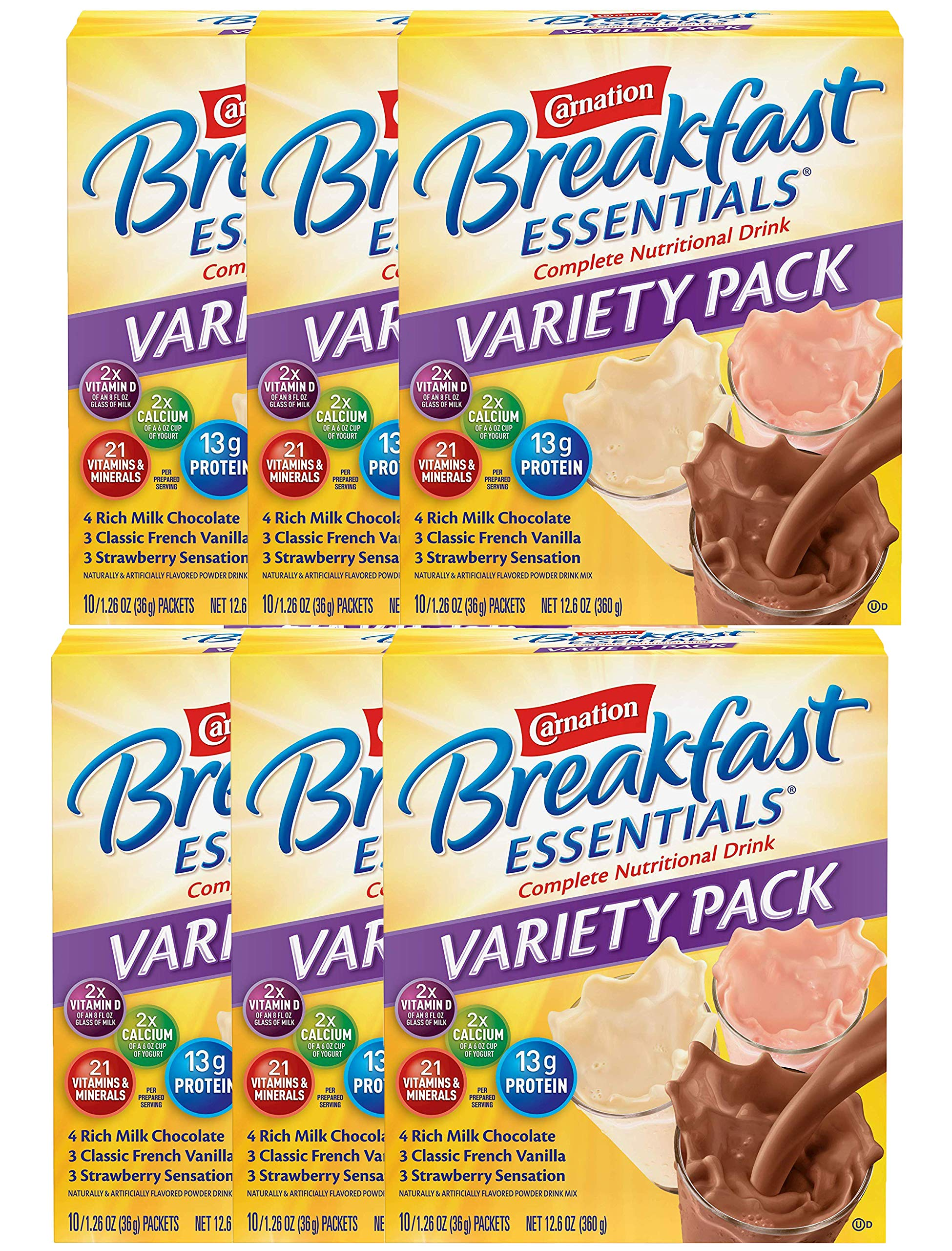Carnation Breakfast Essentials Powder Drink Mix Variety Pack, Complete Nutritional Drink, 10 Count Box of 1.26 oz Packets (Pack - 6)