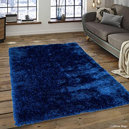 Allstar 8 X 10 Royal Blue Chic Thick Soft And Shaggy Solid Area Rug (7