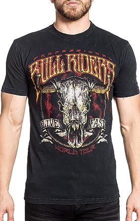Afliction PBR - Camiseta de manga corta para hombre, diseño de toros - Negro - XX-Large: Amazon.es: Ropa y accesorios