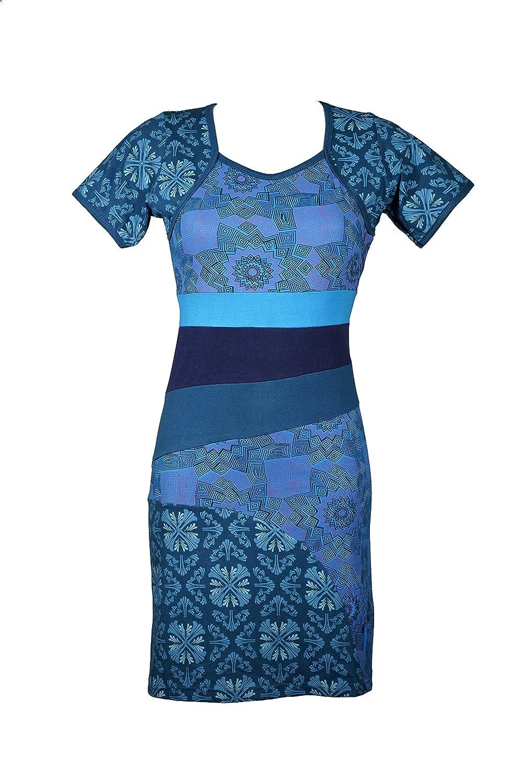 Wunderschönes Kurzarm Kleid mit bunten Ethno Muster im Patchwork Design - 100% Baumwolle - ZAHRA